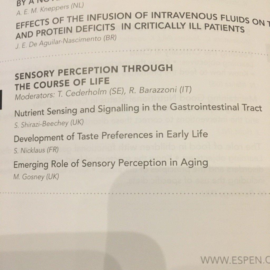 Great session on sensory perceptions at #ESPEN2017 this morning! <br>http://pic.twitter.com/53PSyi4KSz