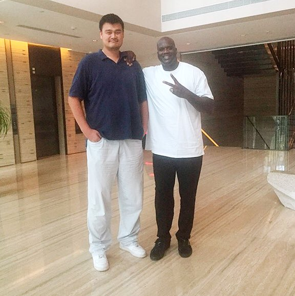 """Introducing \""""Yao Ming Standing Next to NBA Players.\""""   Happy Birthday,"""