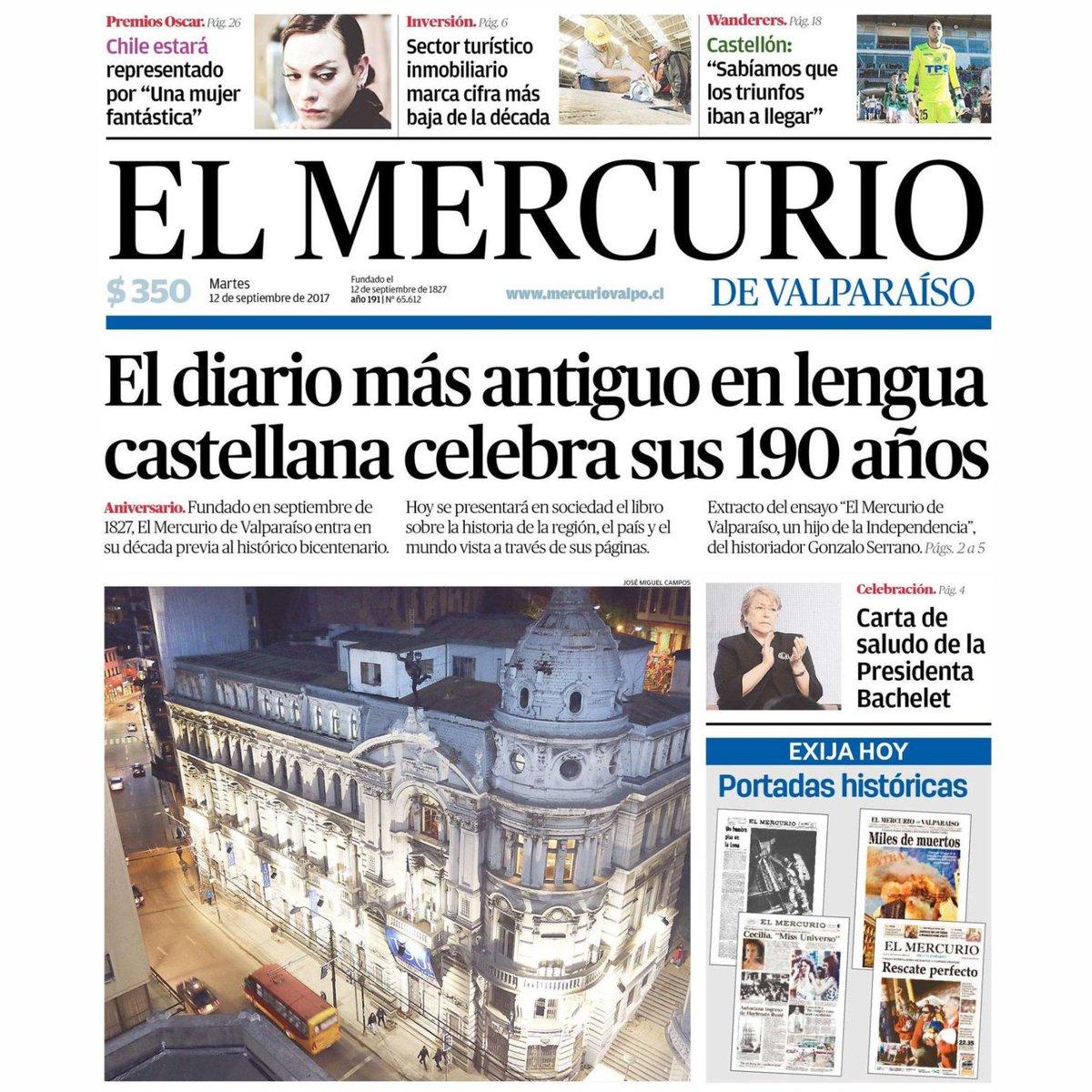 Risultato immagini per El Mercurio, el diario más antiguo de Chile