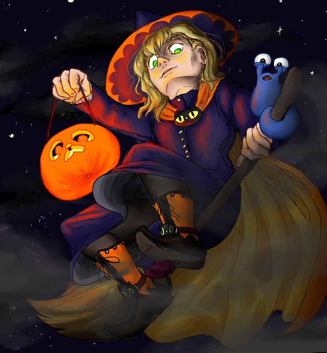 Weil bald Halloween ist (JA! Fight me! >:C) gibt es hier @maudado als gruuuselige Hexe auf einem Besen >:D