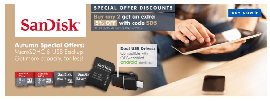 Save on @SanDisk Flash with these Autumn Specials  http:// ow.ly/s6cL30f4jzN  &nbsp;   #RT #Follow #Win Save Share #MultiBuy any 2 EXTRA 5% off <br>http://pic.twitter.com/HW2qEmVkax