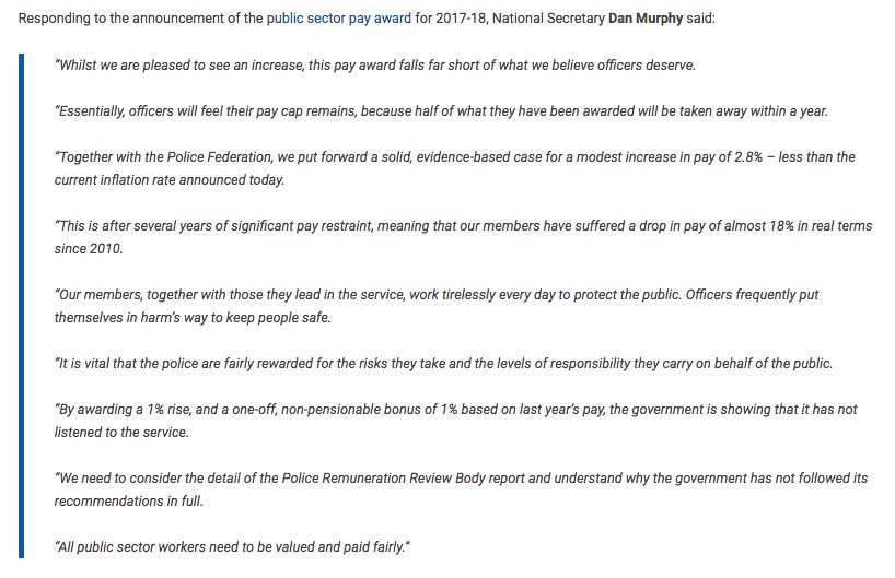 Full response from National Secretary @SupersDan on the government's pay award for police officers announced today https://t.co/Fh7d0ga1Lx
