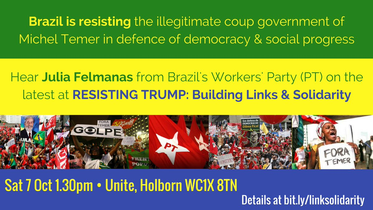 Hear the latest on #Brazil. Meeting 7 October: Resisting Trump: Building links and solidarity. Panel discussion on Latin America. #ForaTemer<br>http://pic.twitter.com/xs8laPzQ1l