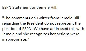ESPN statement on Jemele Hill - no punishment for her