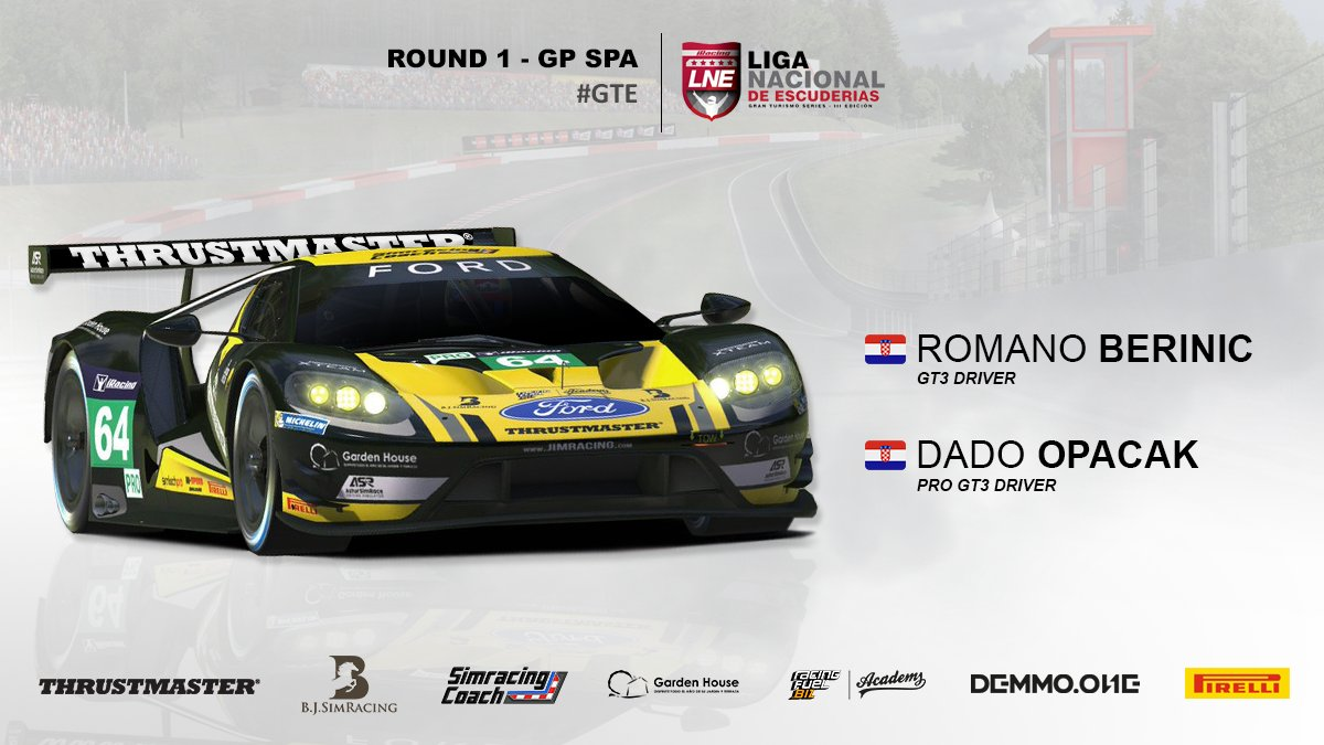 #iRacing | Tonight starts the #LNE at Spa with #FordGT! We will have on track Dado Opacak and Romano Berinic! #BeYellowBeJIM <br>http://pic.twitter.com/7mVpzI1r4y