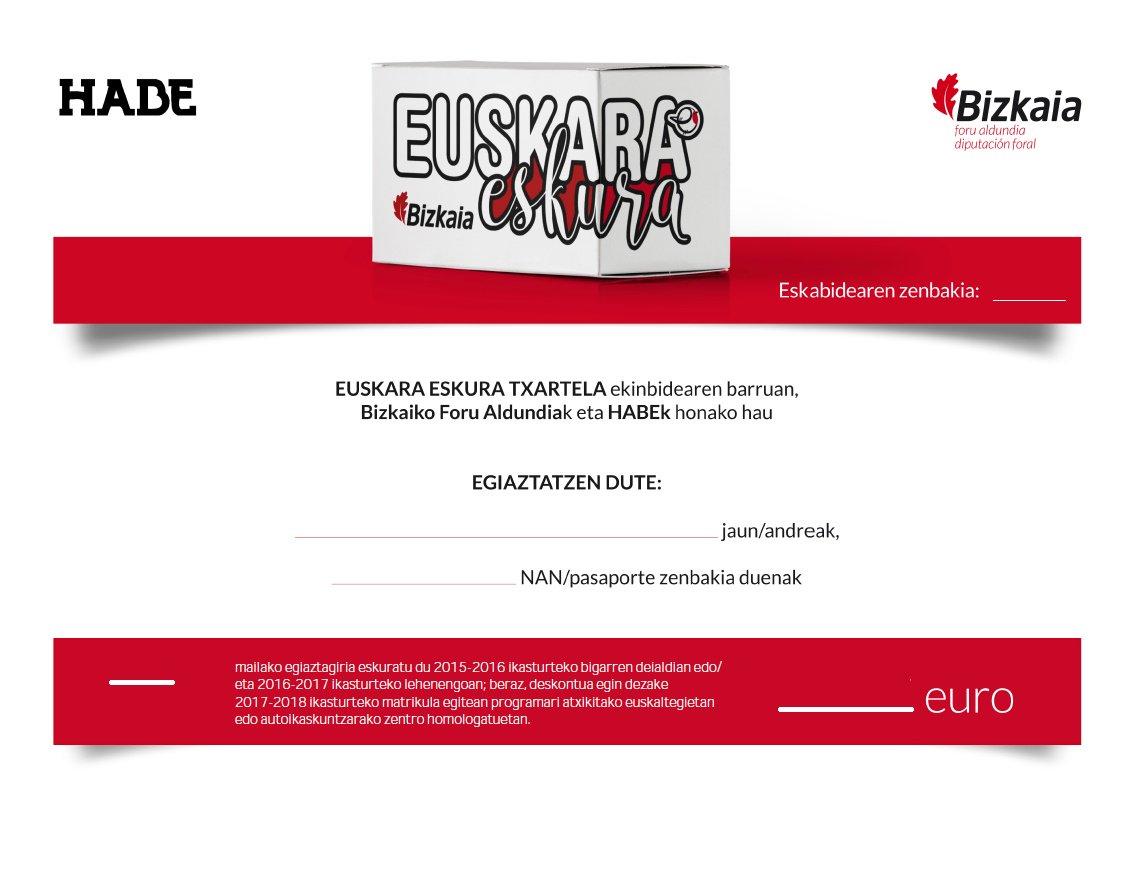 Pediste la tarjeta #euskaraeskura de @Bizkaia ? Revisa tu correo electrónico, recibirás un bono como este!