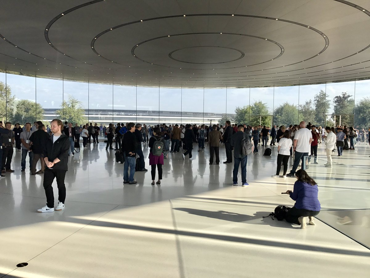 Greetings from inside Apple's Steve Jobs Theatre. It's like a spaceship looking out in a spaceship in here. #AppleEvent