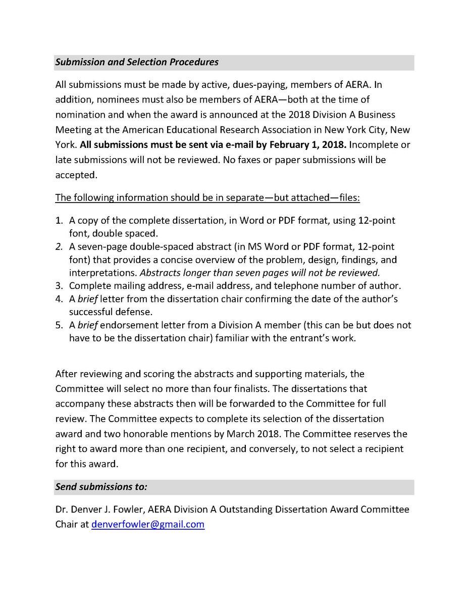 aera division j dissertation award