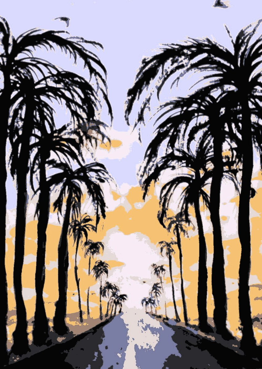 On the road-  #watercolour #illustration #digitalised #summer #palmtrees (available in my @society6 and #redbubble shops)<br>http://pic.twitter.com/qXhifnag9H