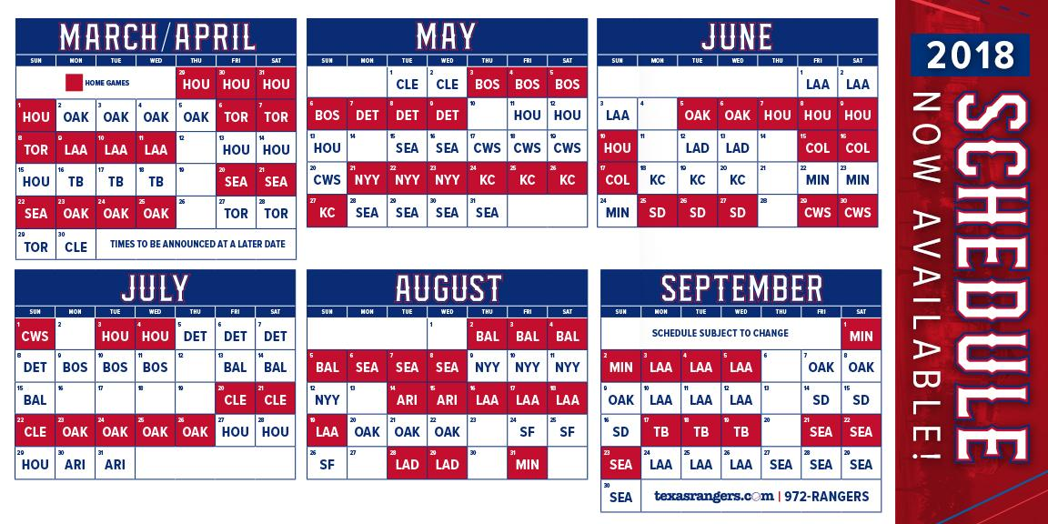 Rangers Schedule 2020 Texas Texas Rangers on Twitter: