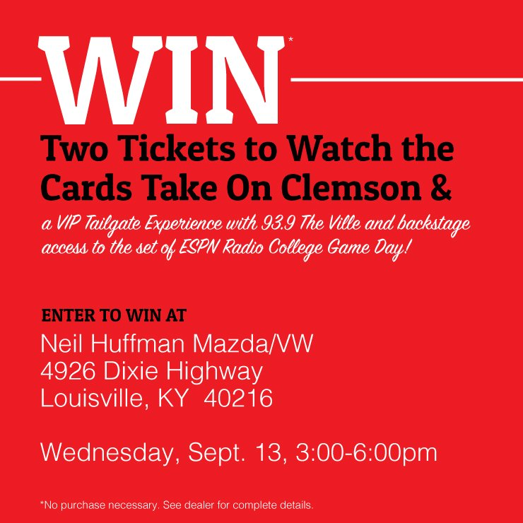 Stop by tomorrow for your chance to win 2 tickets to watch the #Cards take on #Clemson &amp; VIP tailgate experience w/ @939TheVille<br>http://pic.twitter.com/uMWB634zg7