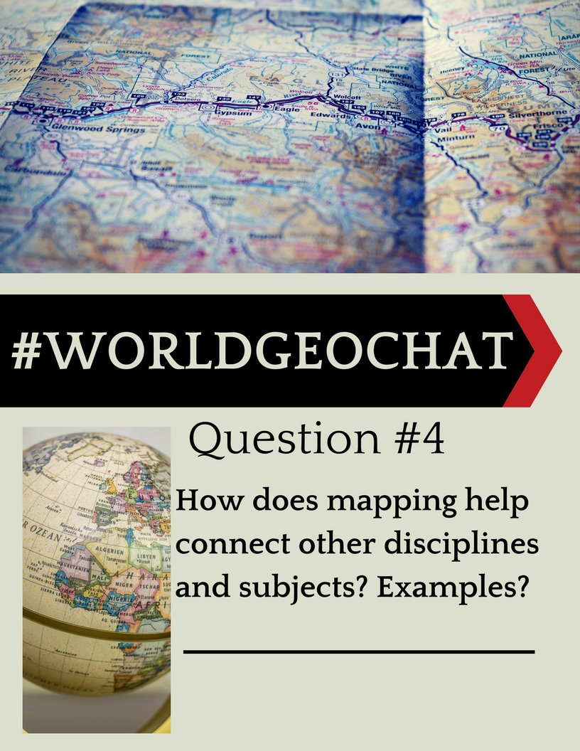 Q4 #worldgeochat How does #mapping help connect other disciplines &amp; subjects? Examples? How do we convince other #teachers to include #maps? <br>http://pic.twitter.com/728RJdl4TV