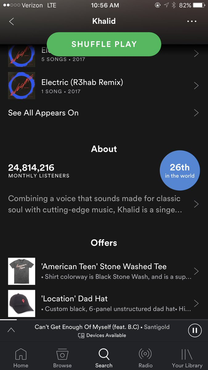 khalid on twitter i m the 26th most listened to artist on spotify