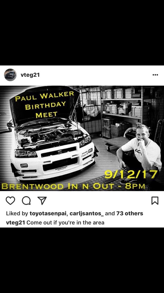 HAPPY BIRTHDAY PAUL WALKER!! Come celebrate at the flash meet tonight!