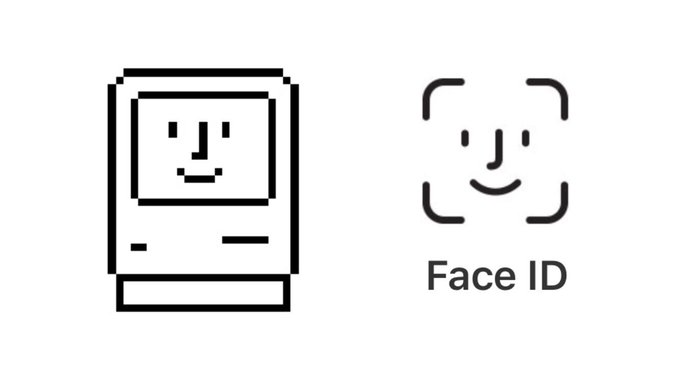Mac icon from 1980s and Face ID icon from 2017