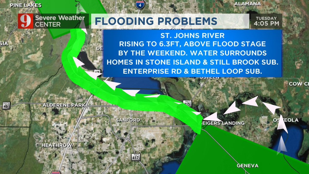 St Johns flooding expected to worsen near Sanford through the weekend!...