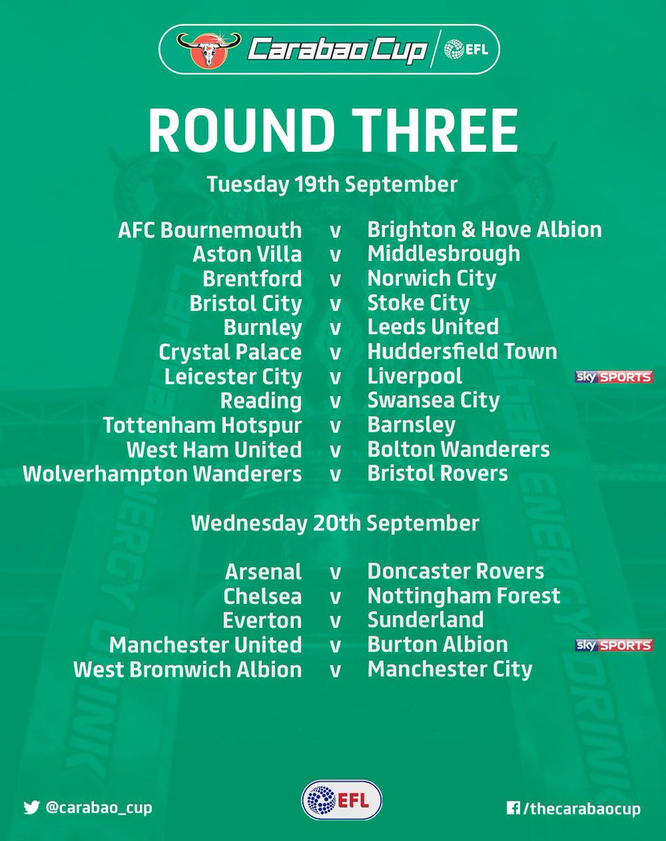 #CarabaoCup: Round Three   After tonight's final Round Two tie, here's...