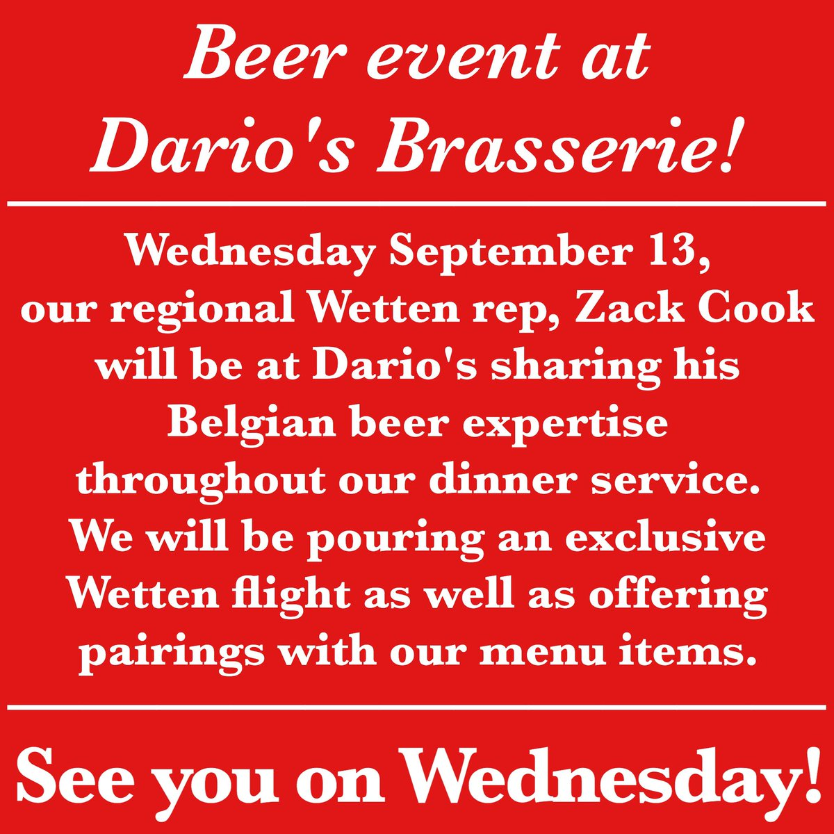 It's happening in 30! Stop by tonight for some great @WettenImporters beer! #omaha #brasserie #beer #bestbeerlistintown