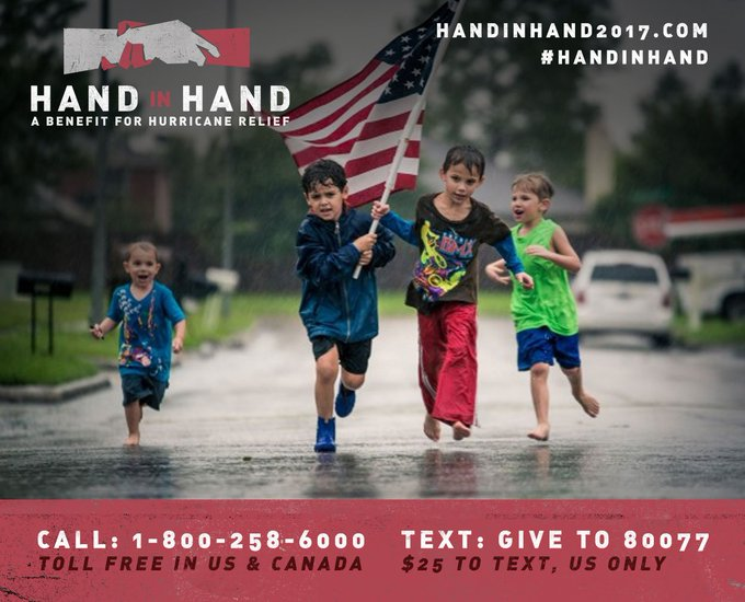 Support relief efforts for those affected by Hurricane Harvey & Irma. Tune in at 8PM ET & give back at https://t.co/fCLHq2Fpk9 #HandInHand https://t.co/yWoKkrw2J1