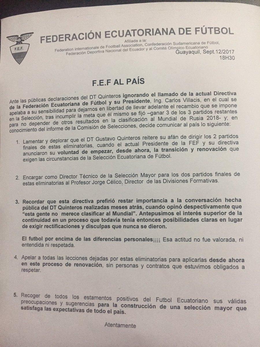 Comunicación sobre terminación de funciones de Quinteros en la selección nacional