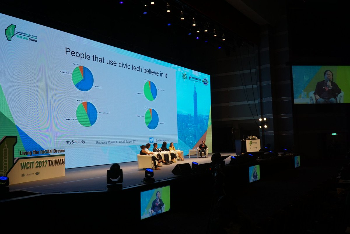 Civic tech plenary before closing at #WCIT2017. Quite an achievement for a mainstream international tech conf #civictechfest<br>http://pic.twitter.com/1OA3VNgxXm