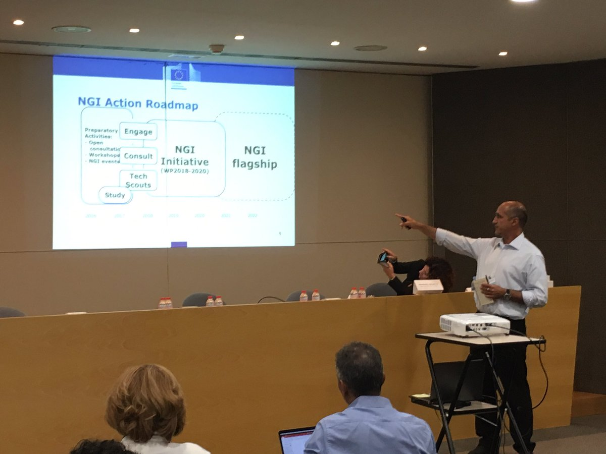 The NGI action roadmap. Towards the #NGI Flagship. Georgios Tselentis from the @EU_Commission at the #NGIForum17 <br>http://pic.twitter.com/lFn4ZzExiN