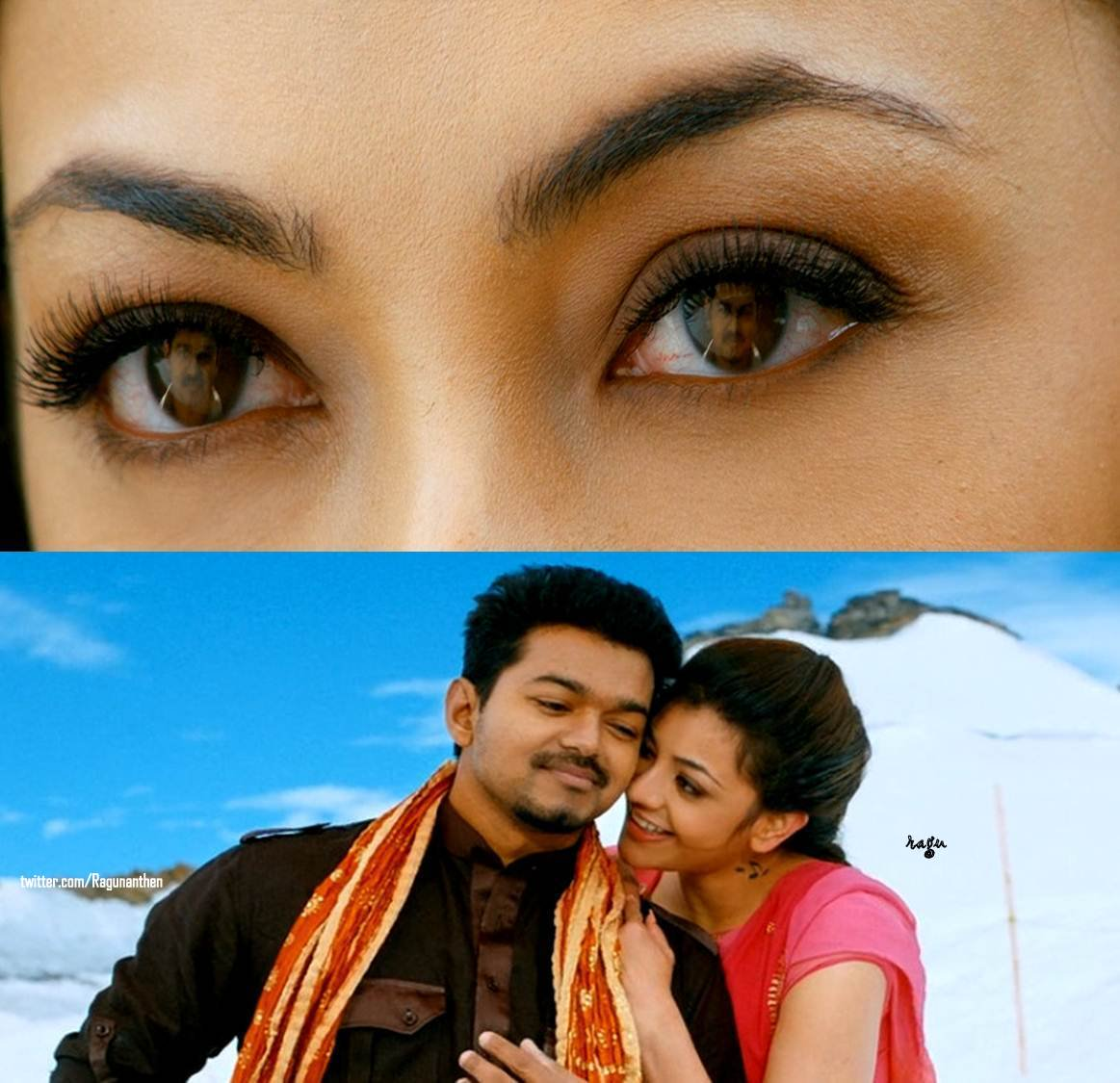 If you say my eyes are beautiful, its because they are looking at you  #Beautiful @MsKajalAggarwal  #Thuppaki #CutePair<br>http://pic.twitter.com/QcmcYCFIse