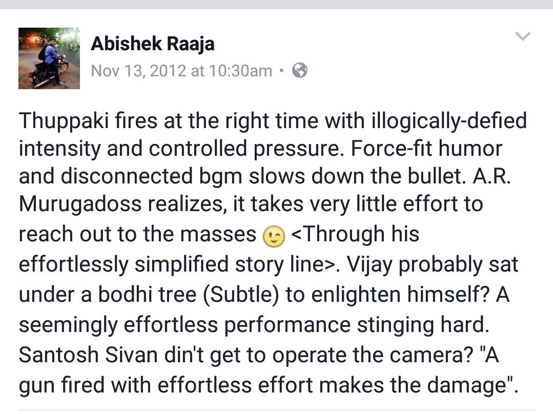 //&quot;A gun fired with effortless effort makes the damage&quot; !!  //  @cinemapayyan Review for #Thuppaki   Cc @ARMurugadoss<br>http://pic.twitter.com/4Ft1qS27pp
