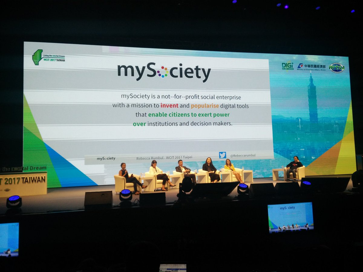 Showcasing civic tech to the main #WCIT2017 audience, including some @mySociety projects<br>http://pic.twitter.com/v4n917EK1f