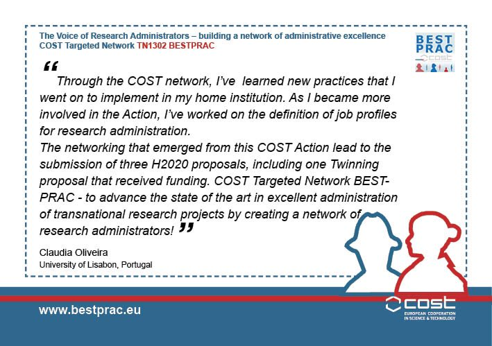 Our #BestPrac networking has led to new successful @EU_H2020 proposals  spreading even more #research #admin excellence @COSTprogramme<br>http://pic.twitter.com/O7jaqXN1yp