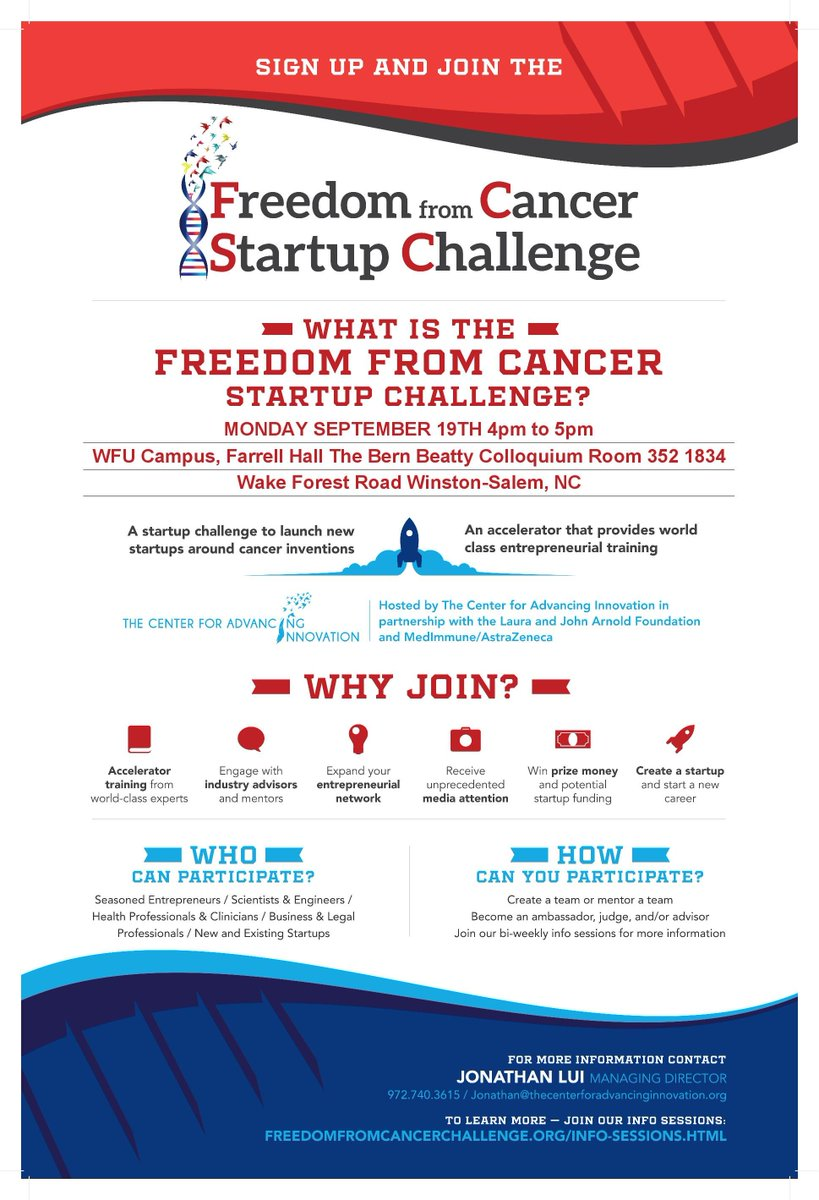 Want to be part of 100 #Startups to prevent, diagnose, treat, and #cure #cancer? Visit @CAIStartups at @WakeForest @WakeForestBiz 9/19