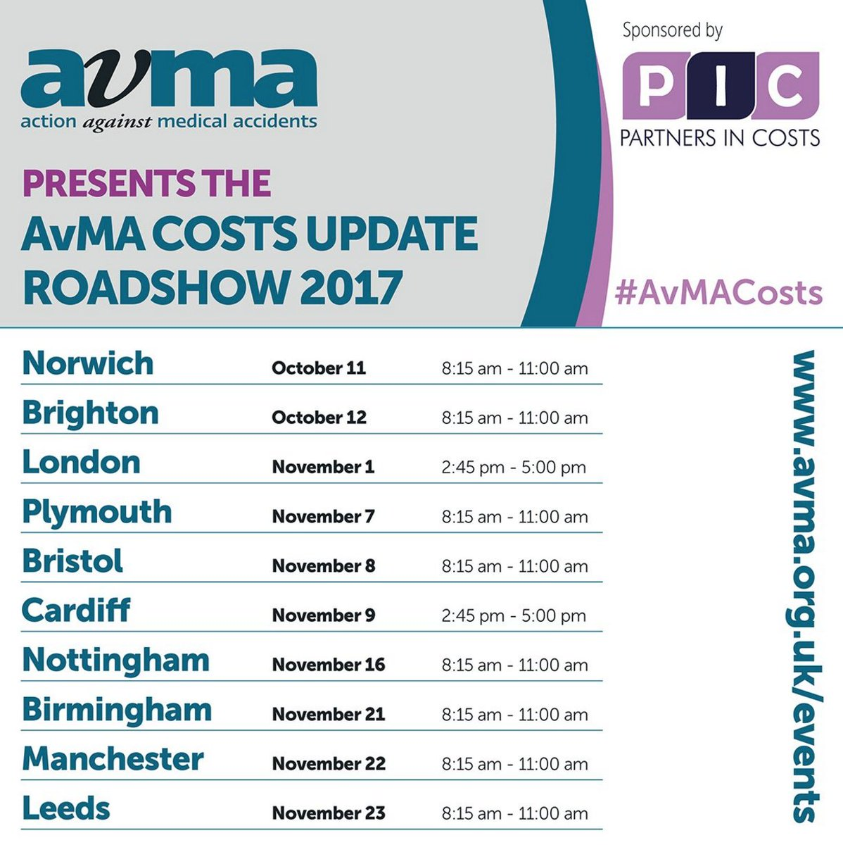 The epic @AvMAuk Clinical Negligence Costs Roadshow 2017 is coming to a city near you soon!  http:// bit.ly/2trcYdi  &nbsp;   #costslaw #legal #law<br>http://pic.twitter.com/R5gAR8uH63