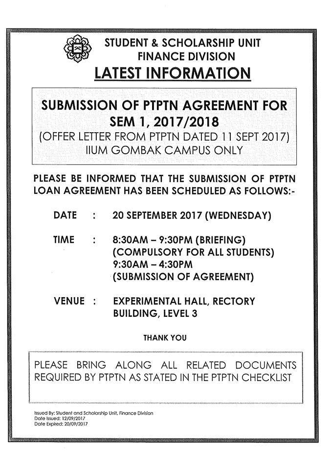Src Iium Gombak On Twitter Submission Of Ptptn Agreement For