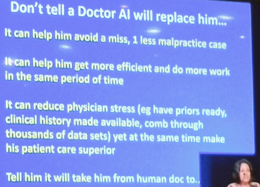 AI in medical diagnosis - a clinicians perspective by Sunita Maheswari. Great talk! AI is there to support, not to replace. #miccai2017 <br>http://pic.twitter.com/xTk40GaPMv