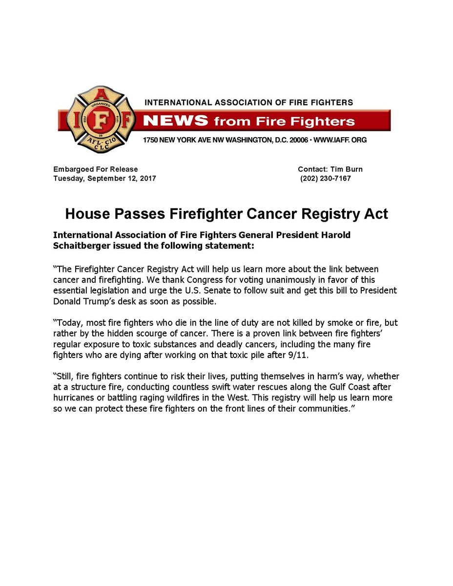 House Passes #Firefighter Cancer Registry Act https://t.co/VrAH2fM5Op