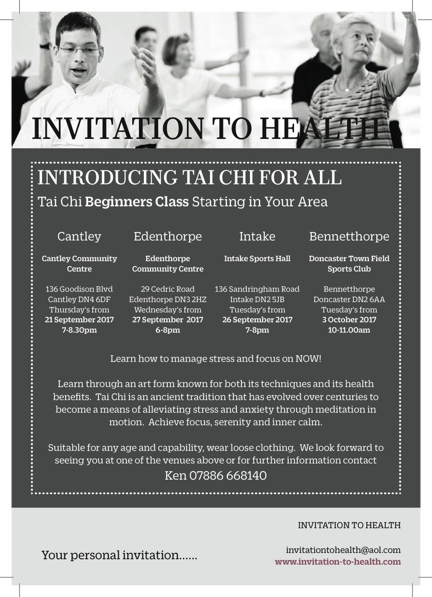 Invitation to health on twitter newclasses meditation taichi in invitation to health on twitter newclasses meditation taichi in doncaster cantley edenthorpe intake bennetthorpe relieffromstress anxiety stopboris