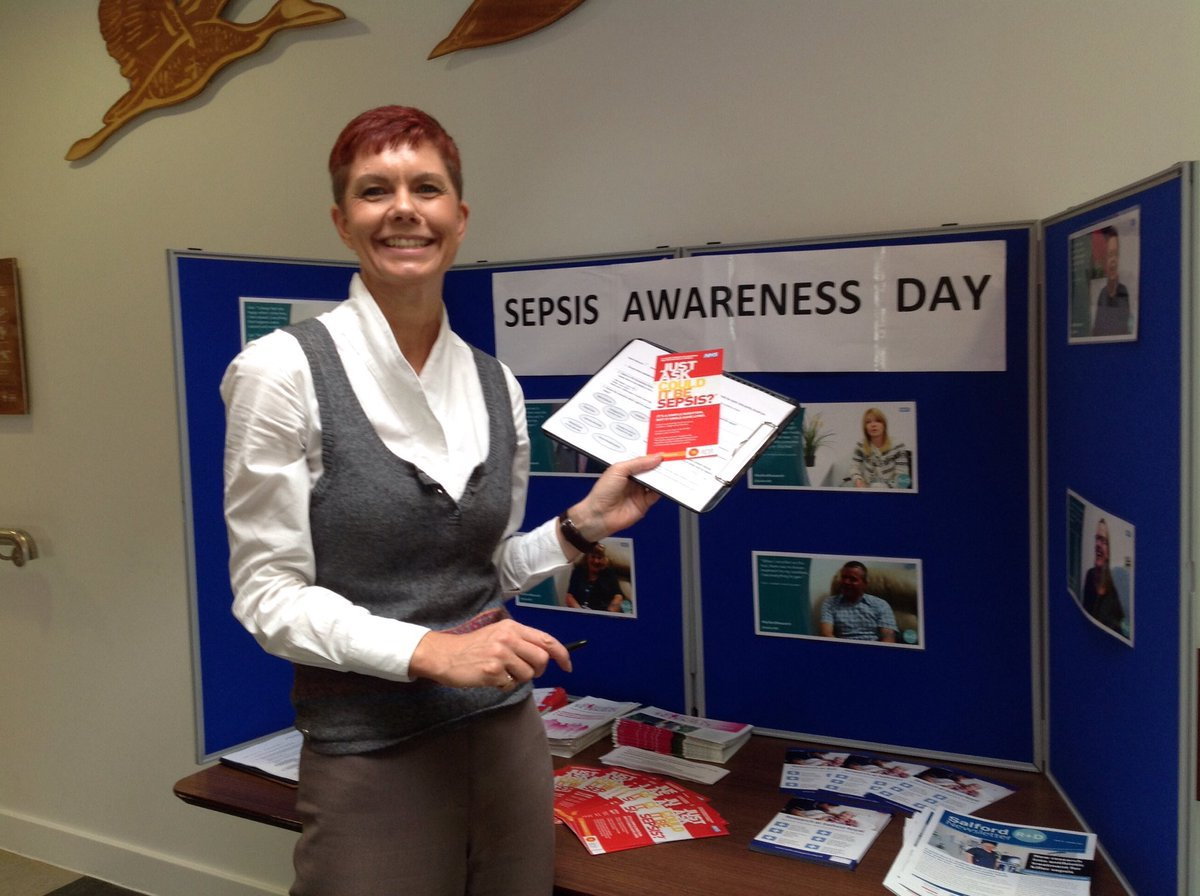 Here&#39;s Nessa with her stall for #WorldSepsisDay - she&#39;s raising awareness of this killer condition &amp; research we&#39;re doing @SalfordRoyalNHS<br>http://pic.twitter.com/3Goc6y5bge