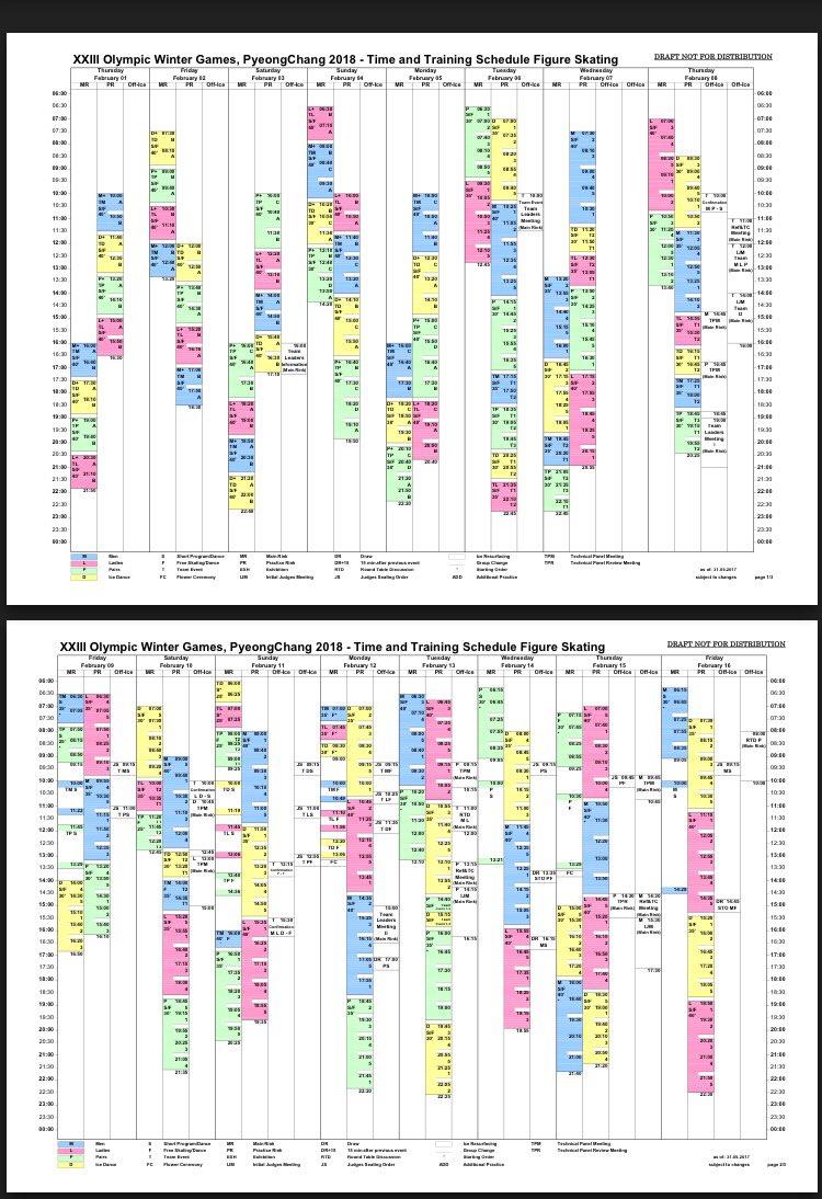 2018 pyeongchang olympics schedule