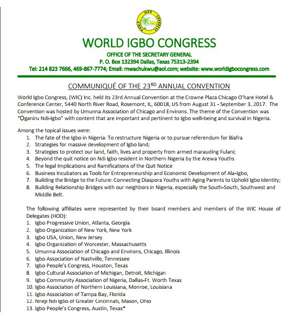 World Igbo Congress (WIC) has elected new set of leaders after its 23rd Annual Convention held in Chicago with Anthony Ejiofor emerging chairman.