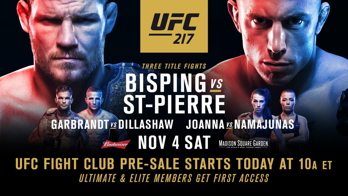 FIGHT CLUBBBBBBB!!!  Your #UFC217 tickets go on sale NOW!!   �� https://t.co/NoU35halnE https://t.co/Sx3xpTnJjH