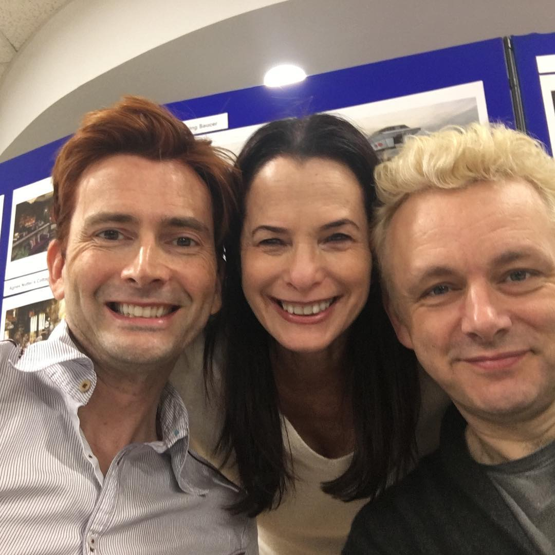 David Tennant and Michael Sheen (with someone from Amazon) at the Good Omens read-through