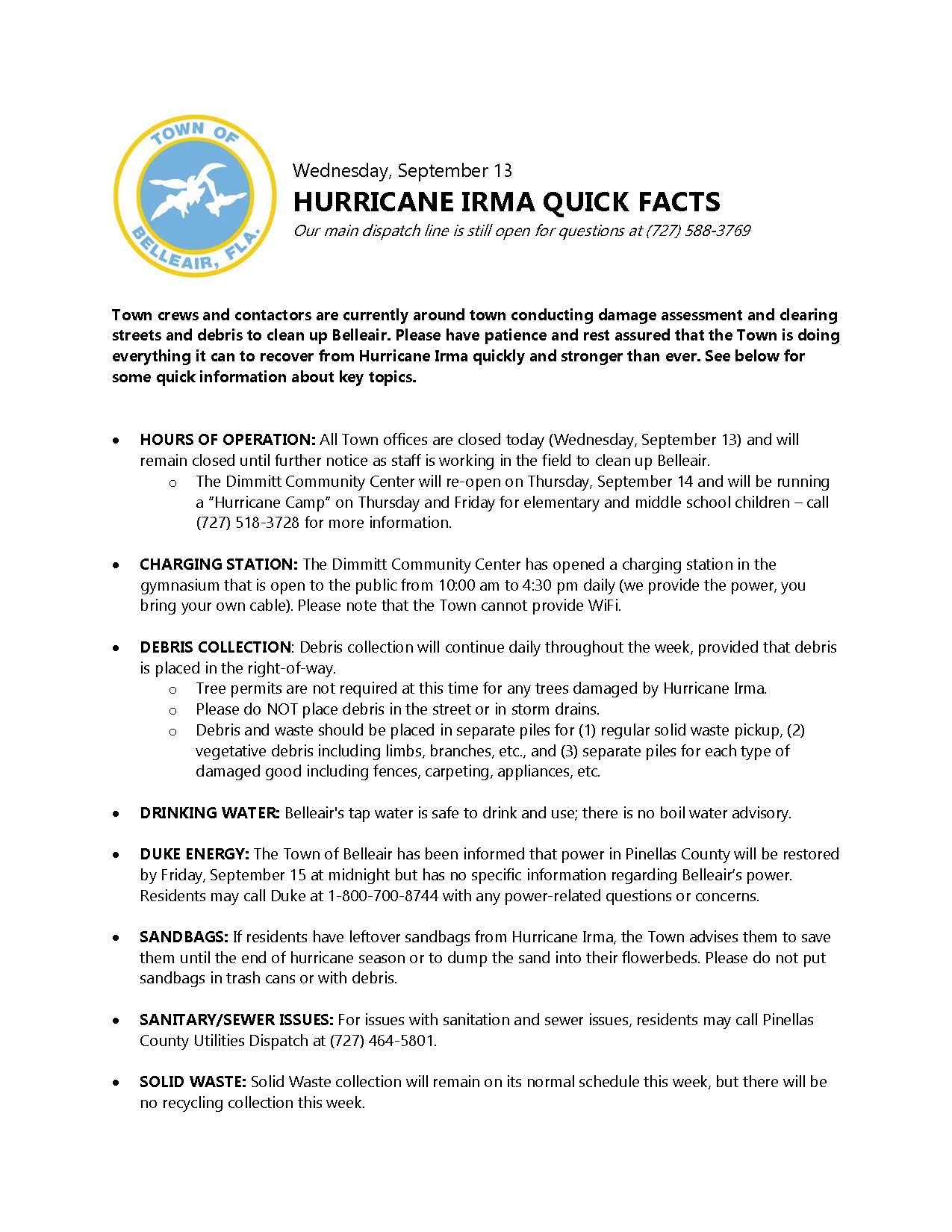 Town Of Belleair On Twitter View The Image Below Or Click Working Contactors Link To See Todays Post Irma Update For Faqs And Key Topics
