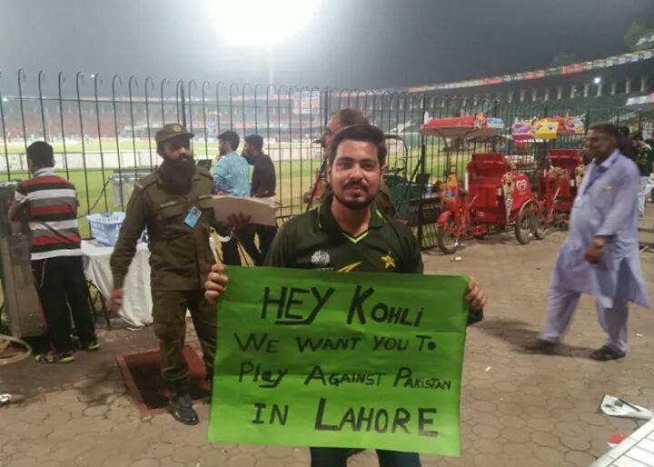 @imVkohli message for you from Pakistan. Cricket loving nation want to see you in Lahore. #CricektKiHalalala <br>http://pic.twitter.com/3VdTjzkiTZ