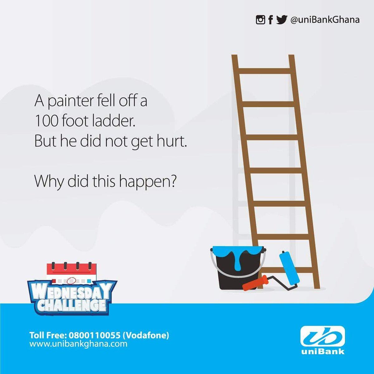 unibank ghana on twitter a painter fell off a 100 foot ladder but