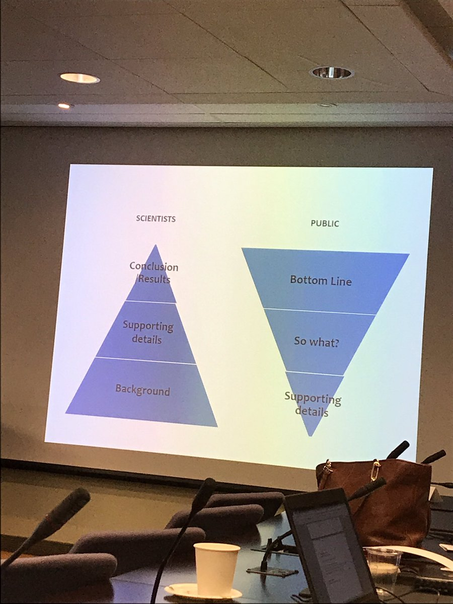Science communication 101 with @LeahJurkovic. The link between scientists and the public - flip the pyramid #scicomm #SWCCan2017 <br>http://pic.twitter.com/SHtF2wvAbf
