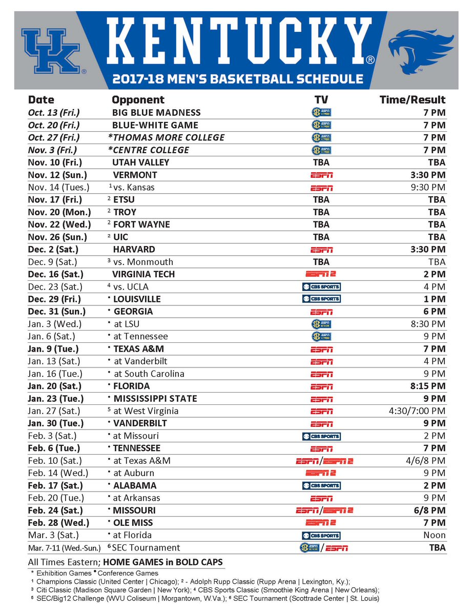 photograph about Printable Uk Basketball Schedule identified as Kentucky Basketball upon Twitter: \