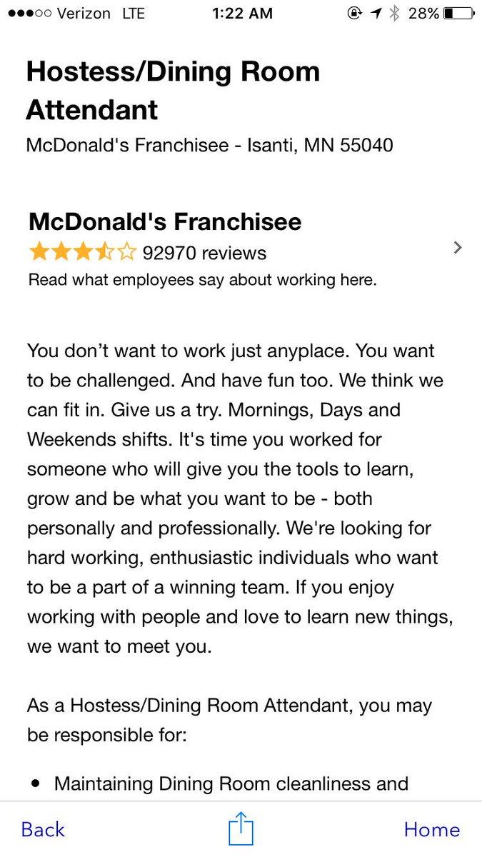 Mcdonalds Dining Room Attendant 0 Replies Retweets 13 Likes