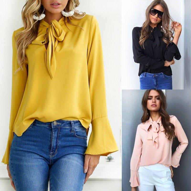 Damen V Ausschnitt langarm Knöpfe Bluse T-shirt Hemd Pullover Pulli shirts Tee