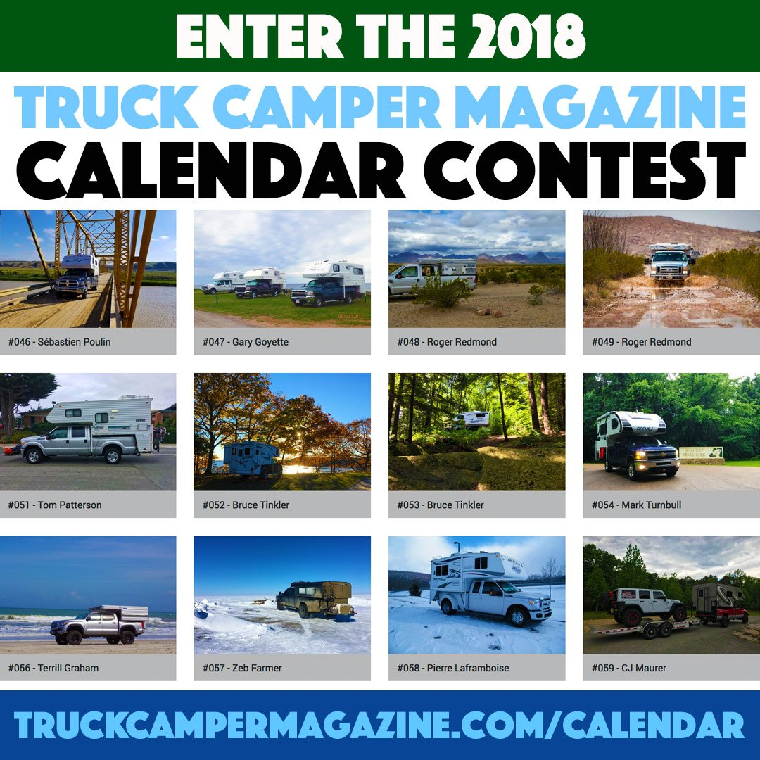 Looking for a way to show off your awesome Capri Camper? Well, look no further because The 2018 @TruckCamperMag Calendar Contest is here!