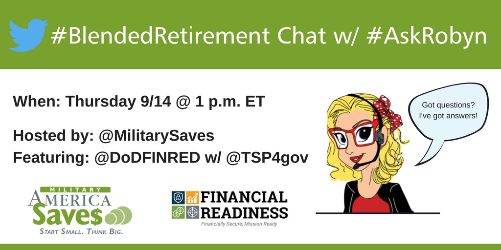 Questions about #BlendedRetirement ? Join @MilitarySaves tomorrow at 1pm to get some answers.   @DoDFINRED @FORSCOM